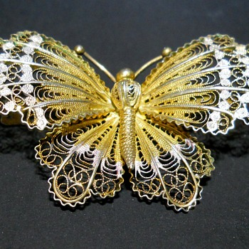 Antique Sterling Filigree .800 Butterfly Brooch,C1920-30 - Animals