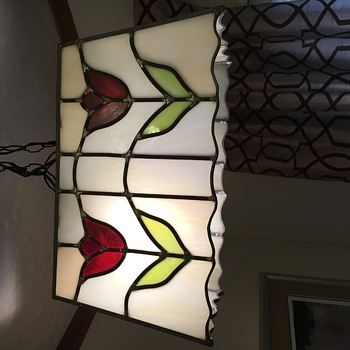 Vintage Stained Glass Hanging Lamp - Lamps
