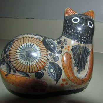 Halloween Cat - Mexican Tonala Style Ceramic Cat in Black, Grey and 'Orange' - Pottery
