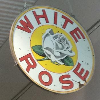 White rose double sided porcelain sign - Petroliana