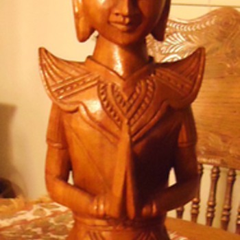 Buddhist wood carved statue, 21 inch and 5 pounds, Name of this Buddhist Man?