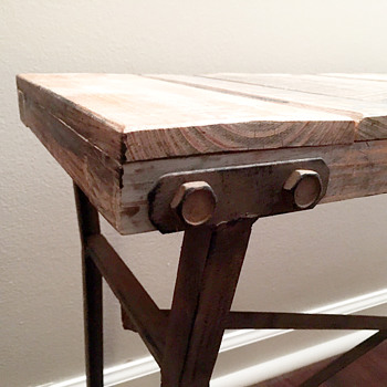 Rustic Wood Plank Bench with Metal Legs (Unknown Maker) - Furniture