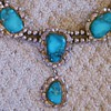 Vintage Navajo Turquoise Squash Blossom Sterling Necklace
