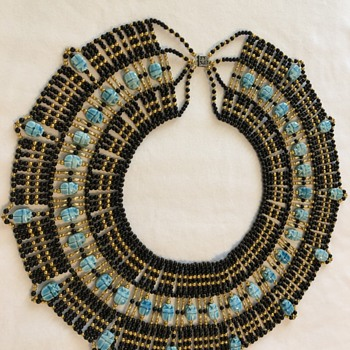 Egyptian beaded scarab necklace from 1993 - Costume Jewelry