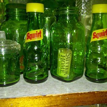 A few green bottles and my Squirt salt and pepper bottles