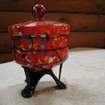 A Footed Candy Dish and Matching Vase - Art Glass