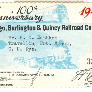 Special Commemorative Railroad Pass - Railroadiana