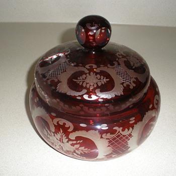 Ruby Bohemian glass candy dish - Art Glass