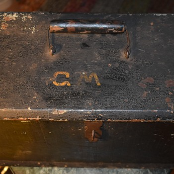 Antique Toolbox - Painted Black on Green and Tan with Initials - Tools and Hardware