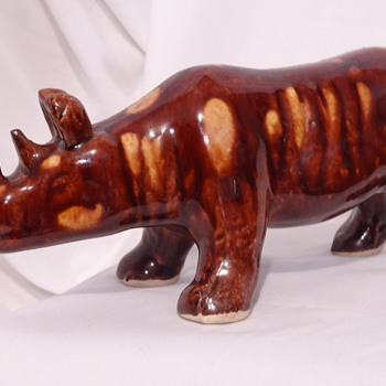 Brown Rhinoceros / Art Pottery / Signature Unknown - Who made this? - Figurines