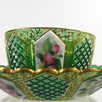 Antique Bohemian Art Glass Ramekin - Art Glass