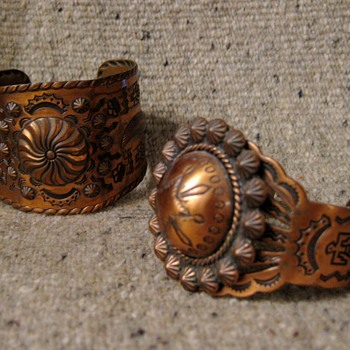 1970's copper tourist bracelets with Indian motifs - Costume Jewelry