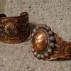 1970's copper tourist bracelets with Indian motifs
