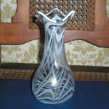 Bohemian Art Nouveau clear and milk glass vase. - Art Glass