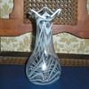 Bohemian Art Nouveau clear and milk glass vase.