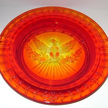 L.E. Smith Glass - Eagle and Stars Ashtray - Glassware