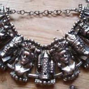 vintage heavy chess piece bracelet - Costume Jewelry