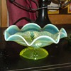 Vaseline Glass Northwood Compote Bowl Button Panels Pattern EAPG