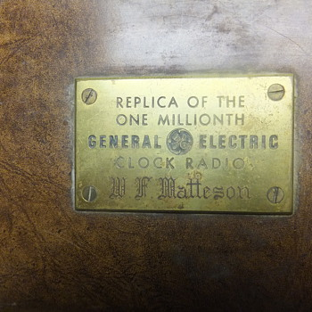 Replica of the one millionth General Electric Clock Radio W.F. Matteson