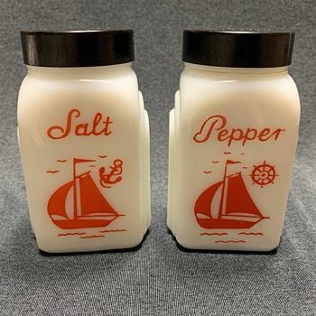 McKee Roman/Deco Arches Red Sailboat Milk Glass Salt & Pepper Shakers - Glassware