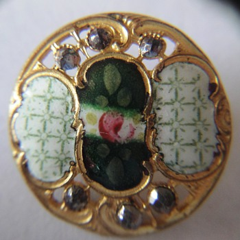 EXQUISITE PAINTED ENAMEL ROSE BUTTONS ~ ROCOCO SCROLL BORDER W/ CUT STEEL - Sewing