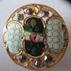 EXQUISITE PAINTED ENAMEL ROSE BUTTONS ~ ROCOCO SCROLL BORDER W/ CUT STEEL