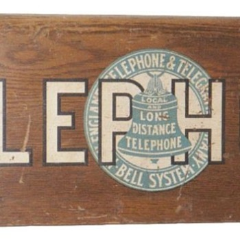 Wooden Telephone Sign