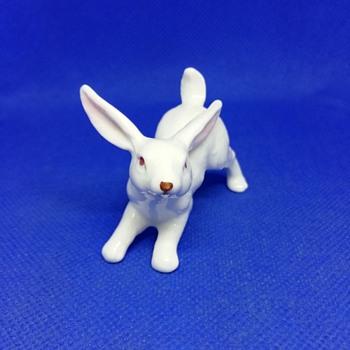 Small white ceramic bunny - Animals