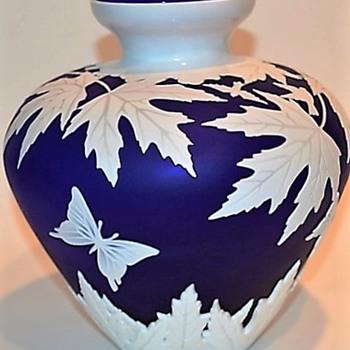 Blue Cameo Vase - Art Glass
