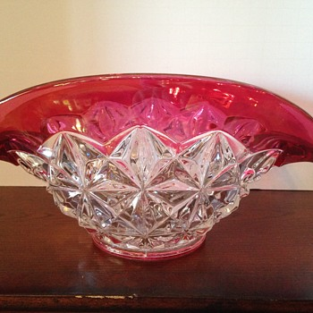 I Need Help!!!  -  Indiana Glass Diamond Point Ruby / Red Band Banana Dish?