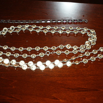 Vintage Silver and Crystal Necklace and Bracelet - Costume Jewelry