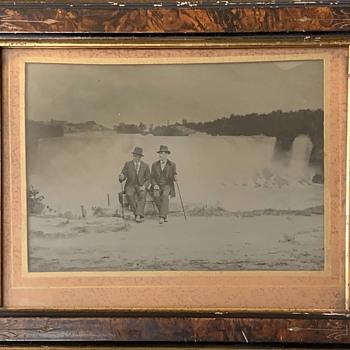Full Plate Ambrotype in original frame of two gentlemen at Niagara Falls - Photographs
