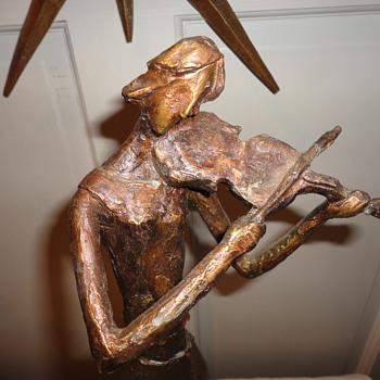 Tall Resin Statue Violin Player - Fine Art