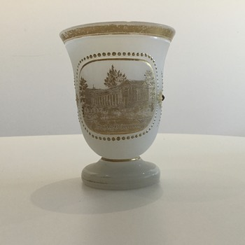"A JOSEPHINEHÜTTE SALZBRUNN SPA SOUVENIR ""E.W."" - Art Glass"