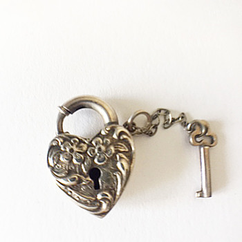 Wonderful 1940's Walter Lampl Sterling Locket with Key