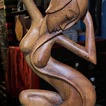 Carved Wooden Statue of an Amphibious Female - Asian