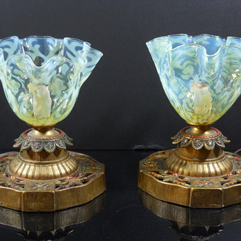 Opaline Brocade lamp shades by John Walsh Walsh - Art Glass