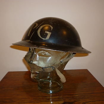 British WWII Repair Party steel helmet.
