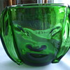 BLOWN GLASS  Forest Green  -FACE VASE- Who Dunnit?