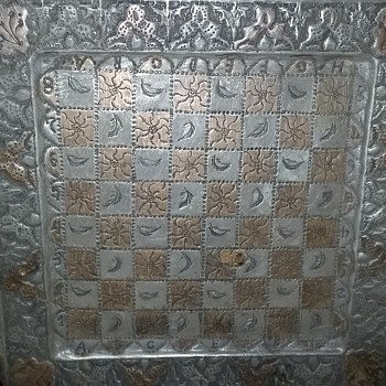 1800's Aluminum  Chess Board  - Games