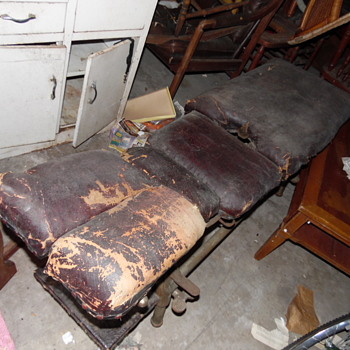 Antique Barber? Tattoo?Medical Chair Iron/Leather Stuffed With Horse Hair&Cotton - Furniture