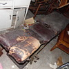 Antique Barber? Tattoo?Medical Chair Iron/Leather Stuffed With Horse Hair&Cotton