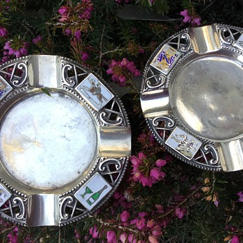 Two Silver and Enamel William Hair Haseler Ashtrays.