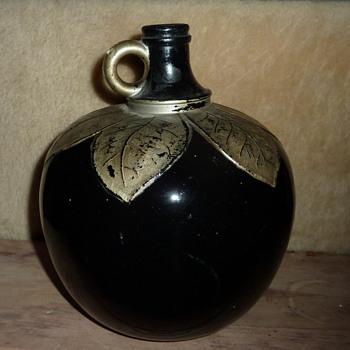 Art Nouveau bottle with painted silver Leaves NJ - Bottles