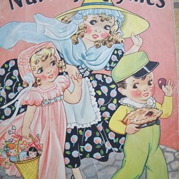 1937 NURSERY RHYMES LINEN BOOK - Books