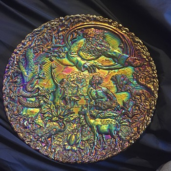 "Fenton Carnival Glass plate ""Garden of Eden""  - Glassware"