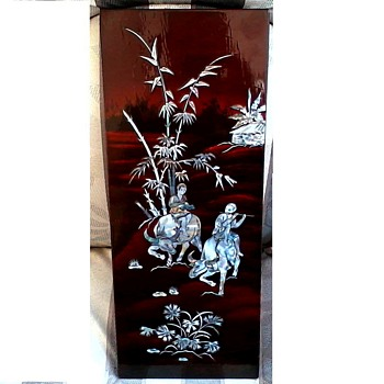 "Japanese Inlaid Abalone -MOP Lacquered Panel / 8"" x 20"" /Circa 20th Century - Asian"