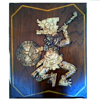 """Back to the Attic Part 2"" Impressive Aztec/Mayan Warrior Onyx Wall Panel /Circa 20th Century - Fine Art"