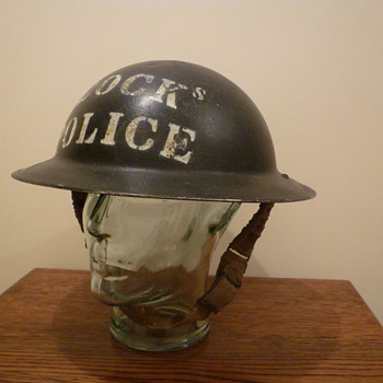 British WWII Docks Police steel helmet.