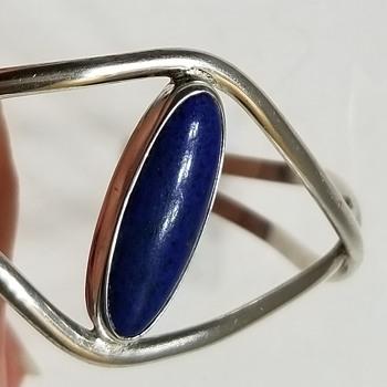 Delicate Sterling Cuff Bracelet Signed Rock or Rocky - Fine Jewelry